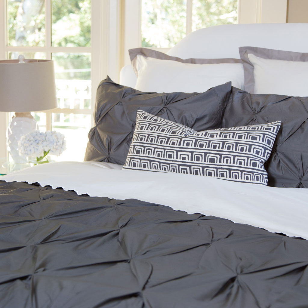 Bedroom inspiration and bedding decor | Charcoal Grey Valencia Pintuck Euro Sham Duvet Cover | Crane and Canopy