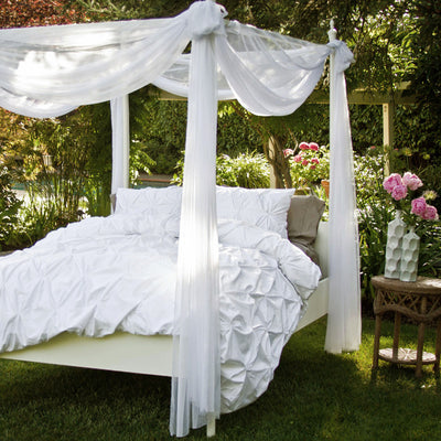 Bedroom inspiration and bedding decor | The Valencia White Pintuck Duvet Cover Duvet Cover | Crane and Canopy