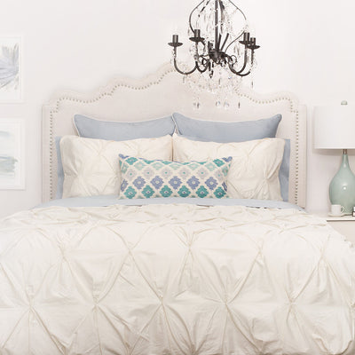 Bedroom inspiration and bedding decor | The Valencia Cream Pintuck Duvet Cover | Crane and Canopy