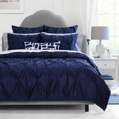 Bedroom inspiration and bedding decor | The Valencia Navy Blue Pintuck | Crane and Canopy