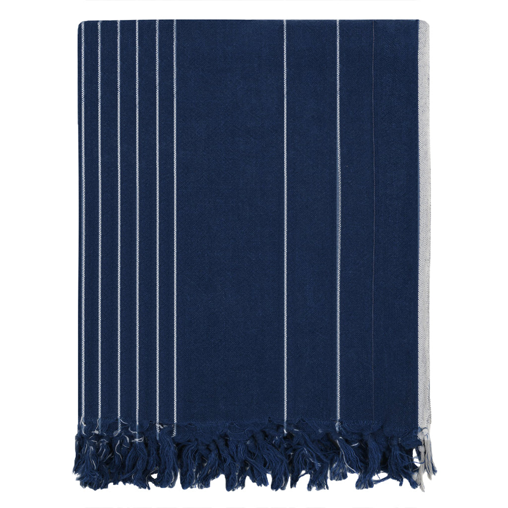 Bedroom inspiration and bedding decor | The Navy Vertical Stripe Linen Throw | Crane and Canopy