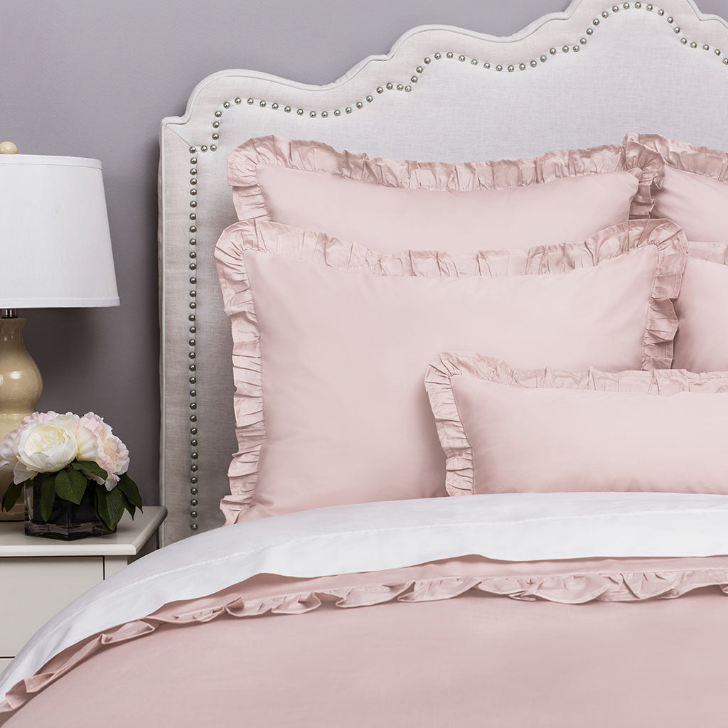 Pink Ruffle Bedding The Vienna Dust Pink Crane Canopy