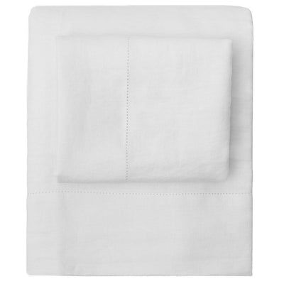 White Belgian Flax Linen Sheet Set (Fitted, Flat, & Pillow Cases)