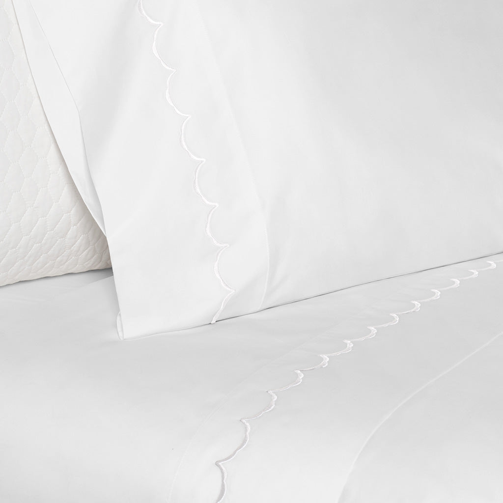 Bedroom inspiration and bedding decor | White Wavelet Embroidered Pillow Case Duvet Cover | Crane and Canopy