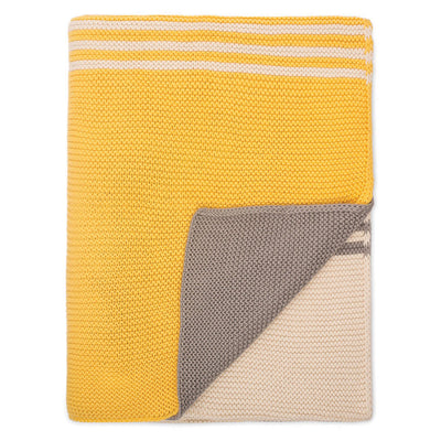 Yellow and Grey Striped Throw