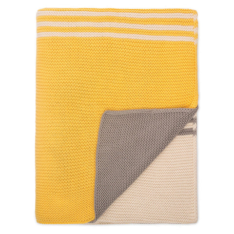 The Yellow and Grey Striped Throw