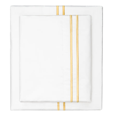 Bedroom inspiration and bedding decor | The Marigold Yellow Lines Embroidered Sheet Set | Crane and Canopy