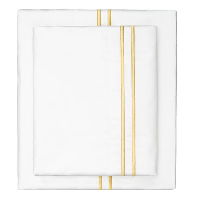 Marigold Yellow Lines Embroidered Sheet Set 1 (Fitted, Flat, & Pillow Cases)