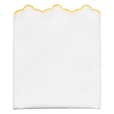 Yellow Scalloped Embroidered Pillow Case