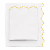 Yellow Scalloped Embroidered Sheet Set 1 (Fitted, Flat, & Pillow Cases)
