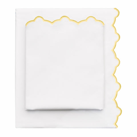 Bedroom inspiration and bedding decor | The Scalloped Embroidered Yellow Sheet Set | Crane and Canopy