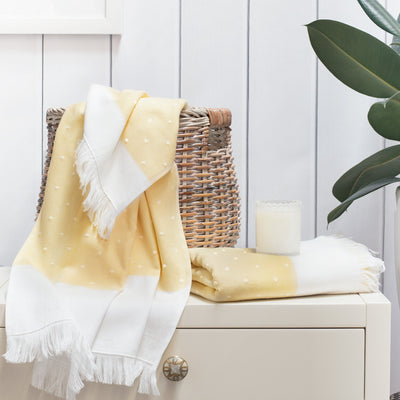 Yellow Dot Fouta Towel Essentials Bundle (2 Wash + 2 Hand + 2 Bath Towels)