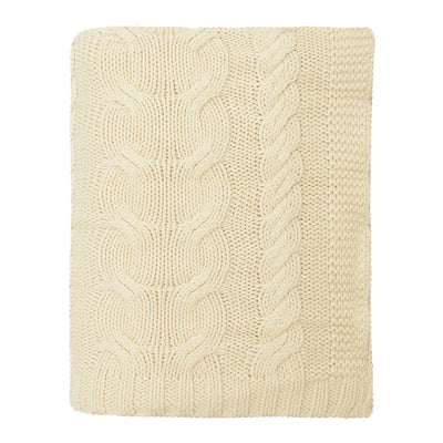 Ivory Chunky Braid Cotton Throw