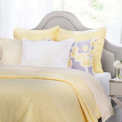 Bedroom inspiration and bedding decor | Yellow Scalloped Quilt Euro Sham Duvet Cover | Crane and Canopy