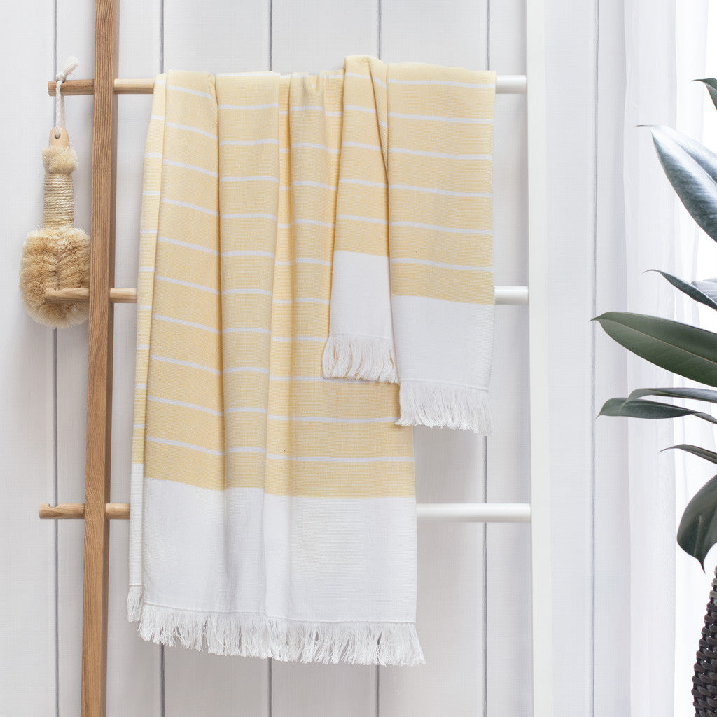 Bedroom inspiration and bedding decor | Yellow Stripe Fouta Washcloth Duvet Cover | Crane and Canopy