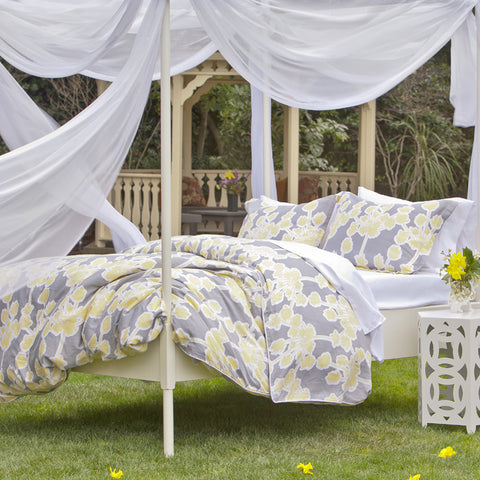 Floral Yellow And Gray Duvet Cover Crane Amp Canopy