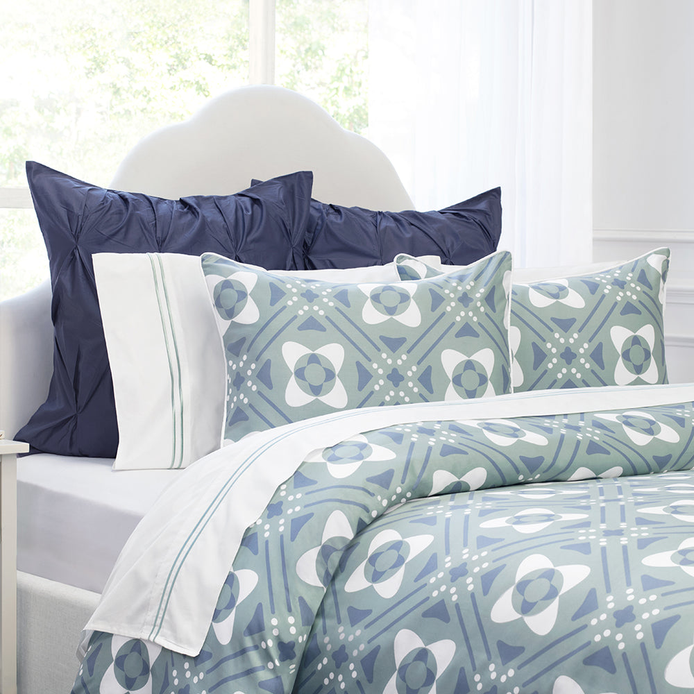 The Porcelain Green Lines Embroidered Sheet Set