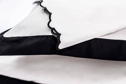 Bedroom inspiration and bedding decor | The Black Scalloped Embroidered Sheet Sets | Crane and Canopy
