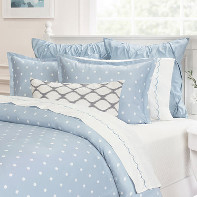 Bedroom inspiration and bedding decor | The French Blue Wavelet Embroidered Sheet Sets | Crane and Canopy