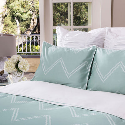 Bedroom inspiration and bedding decor | Green Cora Euro Sham Duvet Cover | Crane and Canopy