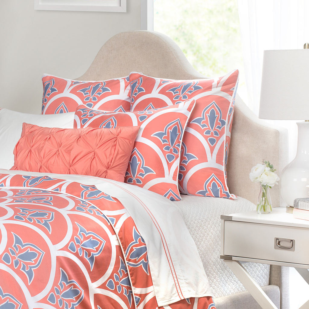 coral scalloped bedding the coral clementina crane With coral and blue duvet cover
