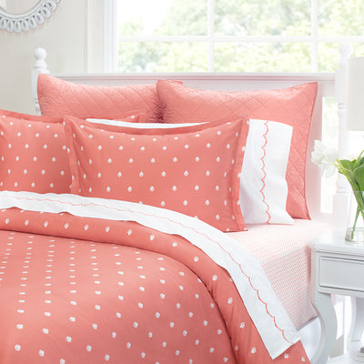 Coral Wavelet Embroidered Sheet Set (Fitted, Flat, & Pillow Cases)