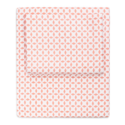 Coral Morning Glory Sheet Set (Fitted, Flat, & Pillow Cases)