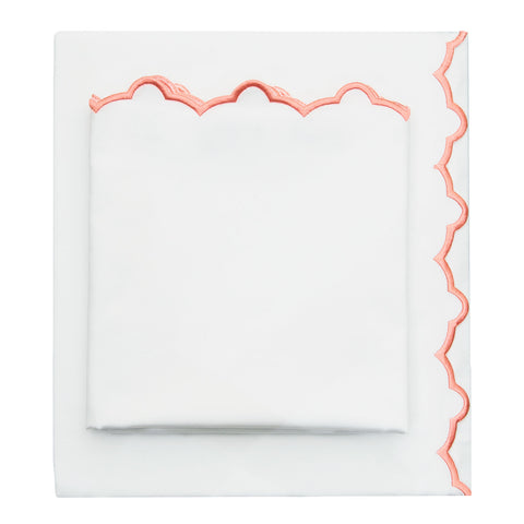 The Coral Scalloped Embroidered Sheet Set
