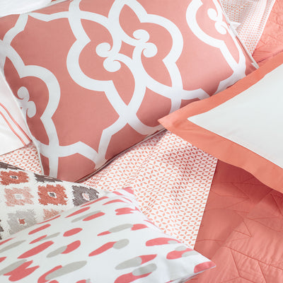Bedroom inspiration and bedding decor | The Coral and Grey Brushstrokes Throw Pillows | Crane and Canopy