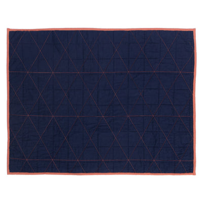 Diamond Box-Stitch Navy Blue Quilt Sham