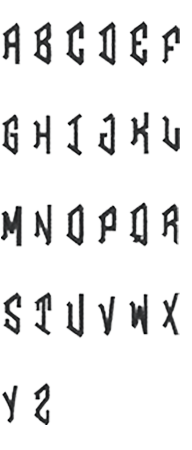Image of all the letters in Diamond