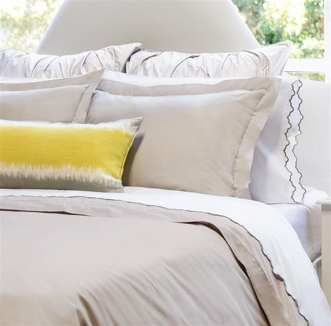 Bedroom inspiration and bedding decor | The Peninsula Dove Grey Duvet Cover | Crane and Canopy
