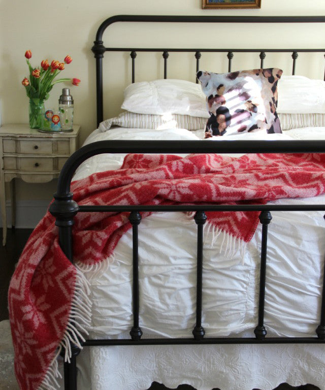Crane and Canopy Designer Bedding as seen in Eclectically Vintage