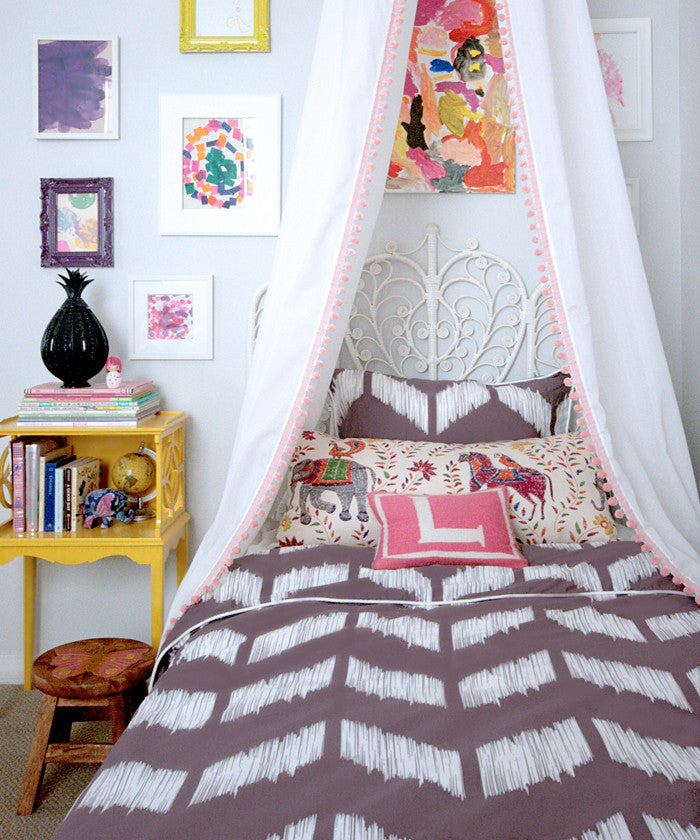 Crane and Canopy Designer Bedding as seen in Erika Brechtel