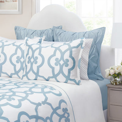 Bedroom inspiration and bedding decor | French Blue Florentine Sham Duvet Cover | Crane and Canopy