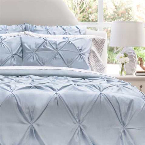 Bedroom inspiration and bedding decor | The Valencia French Blue Pintuck Duvet Cover | Crane and Canopy