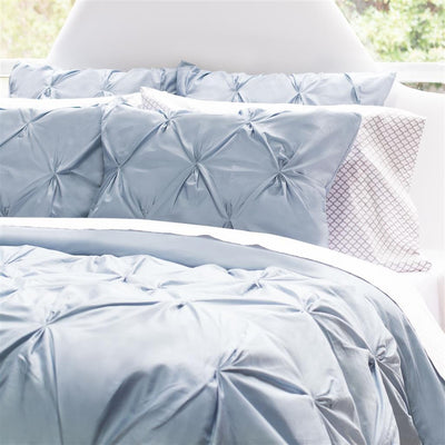 French Blue Valencia Pintuck Duvet Cover