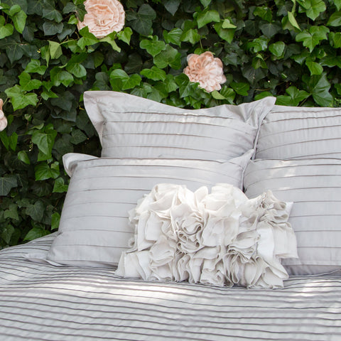 Bedroom inspiration and bedding decor | The Dove Grey Ruffled Pillows | Crane and Canopy