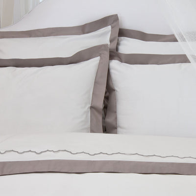 Bedroom inspiration and bedding decor | The Gray Scalloped Embroidered Sheet Sets | Crane and Canopy