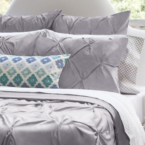 Bedroom inspiration and bedding decor | The Valencia Grey Pintuck Duvet Cover | Crane and Canopy