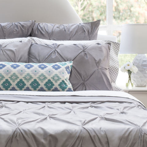 The Valencia Grey Pintuck Duvet Cover Set Crane Amp Canopy