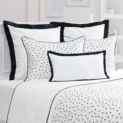 Bedroom inspiration and bedding decor | Black and White Harper Euro Sham (Black Piping) Duvet Cover | Crane and Canopy