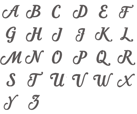 Image of all the letters in Classic