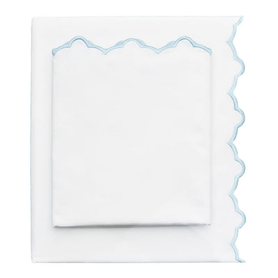 Light Blue Scalloped Embroidered Sheet Set (Fitted, Flat, & Pillow Cases)