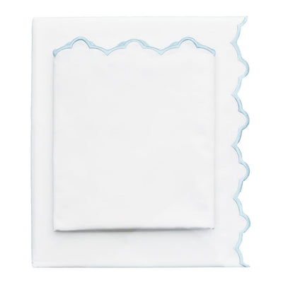 Light Blue Scalloped Embroidered Flat Sheet