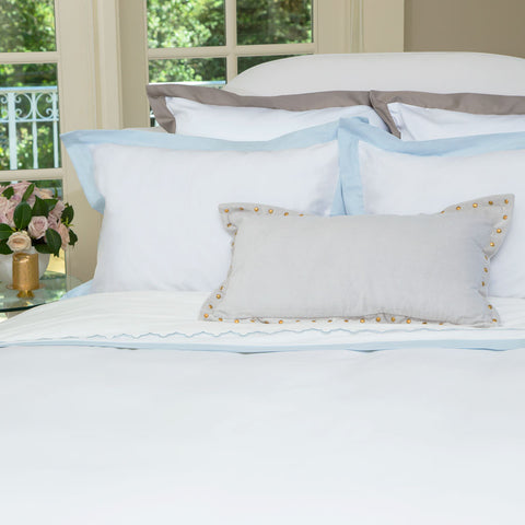 Bedroom inspiration and bedding decor | The Linden Light Blue Border Duvet Cover | Crane and Canopy