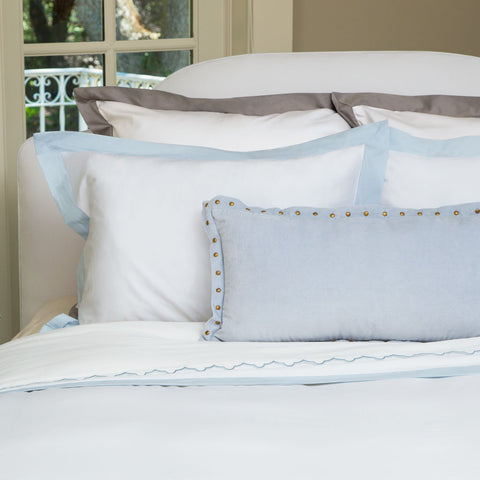 Bedroom inspiration and bedding decor | The Linden Light Blue Border | Crane and Canopy