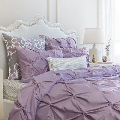 Bedroom inspiration and bedding decor | The Valencia Lilac Pintuck Duvet Cover | Crane and Canopy