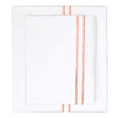 Coral Lines Embroidered Sheet Set (Fitted, Flat, & Pillow Cases)