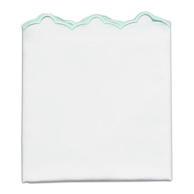 Mint Green Scalloped Embroidered Pillow Case